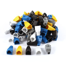 Wholesale Cat5e Plugs - Soft Plastic CAT5E CAT6 Ethernet RJ45 Cable End Cap Connector Boots Plug Cover Network Cable Strain Relief Modular