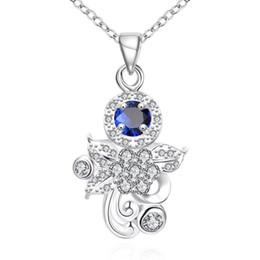 Deutschland Nagelneue Art und Weiseblumenform 925 silberne hängende Halsketten STPN124A, bestes Geschenk blue Edelstein sterlingsilberschmucksachehalskette cheap pendant silver blue gemstone Versorgung