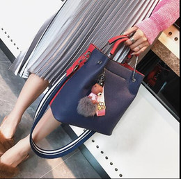 Wholesale Purple Silk Wide Ties - Fashion wide shoulder strap buckets package women 2018 autumn and winter new stitching handbag wild shoulder Messenger bag tide