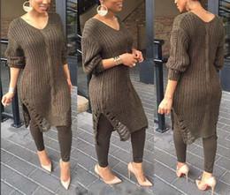 Wholesale Jumper Dresses Women - 2016 Europn Women Long Sleeve Knitted Sweater plus size Dew shoulder Loose Sweater Hollow hole Long Sweater Jumper Winter Dress