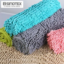 Wholesale Shaggy Bathroom Mats - 1pcs lot Solid Floor Mat Soft Shaggy Water-proof Bath Mat Floor Carpet For Bathroom Door Rug Chenille Mat 50cmx80cm 40x60cm