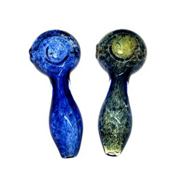 Wholesale Pipe Tobacco Products - 4 inch new product fumed sea blue inside-out frit spoon pipe tobacco glass pipe for smoking use