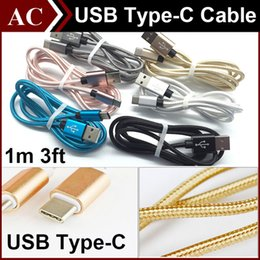 """Wholesale Fabric Apples - 3FT 1M Type C Braided Fabric Metal Charging Cable Micro USB 3.1 Type-C Male Data Sync Charger Line For LG G5 Nokia N1 Apple New MacBook 12"""""""