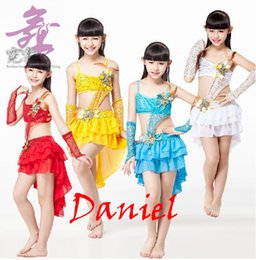 Wholesale Kids Dance Latin Skirt - Hot Sale 4 Colors Kids Costume 8-15 Years Tassel Skirt Backless Top with Sequin Arm Sleeves Latin Dance Dress for Girls