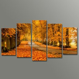 Wholesale Yellow Spray Paint - Modern Modular Paintings on Canvas 5 Panel Wall Art Painting of Yellow Tree Avenue Digital Painting Custom Canvas Prints Home