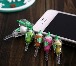Wholesale Iphone Starbucks Dust Caps - 2016 Wholesale - Starbucks Coffee Cup Dustproof Ear Cap Plug Earphone Jack Anti-dust Plug for iphone 4 4S 5G free shipping