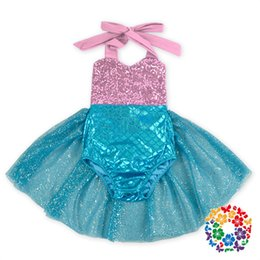 Wholesale Cm Green - New Baby Girls Tutu Sequins Mermaid Rompers Halter Princess Multi Color Dots Princes Rompers