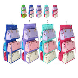 Wholesale Handbag Three Colors - 6Pockets Hanging Storage Family Organizer Purse Handbag Tote Bag Closet Door Holder Bag Storage Holders Racks 9 Colors OOA3194