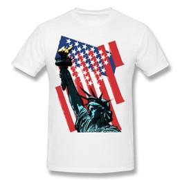 Camicia bianca a buon mercato collo rotondo online-T-shirt da uomo a maniche corte in cotone a righe con stelle e t-shirt con maniche corte da uomo Liberty Neck 4XL T-shirt stampate