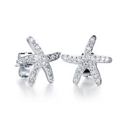Canada Mode Full Cubic Zirconia Étoile de mer Star Star Stud boucles d'oreilles pour les femmes bijoux Vintage or 18 carats / plaqué platine boucles d'oreilles kDE641 cheap sea star jewelry Offre