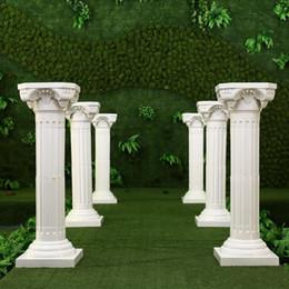 Wholesale Wedding Plastic Column - Hollow Flower Design Roman Columns White Color Plastic Pillars Road Cited Wedding Props Event Decoration Supplies 4 pcs lot