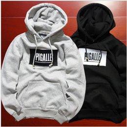 Wholesale Mens Korean Hoodies - hip hop streetwear brand name mens clothing korean couple kpop clothes S-XL fleece black hoodie asap rocky box logo pigalle