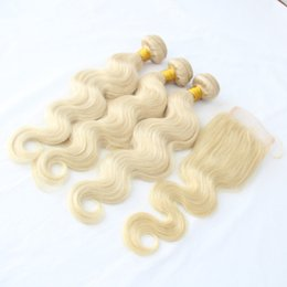Wholesale 4inch Weaving Hair - 9A Grade 3 Bundles Hair With Free Part 4*4inch lace Closure Color 613# Blonde Russian Human Hair Body Wave Extensions
