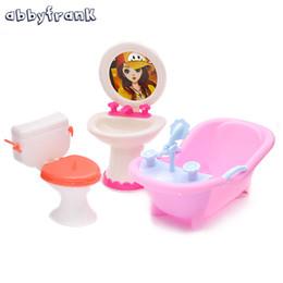 Wholesale Girls Bathroom Accessories - Abbyfrank Doll Furniture Toy Toilet Bathtub Bath Bathing Bowl Toilet Can Flip Wash Basin Sink Bathroom Doll Accessories Doll Toy