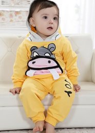 Wholesale Yellow Hippo - Lovely Cartoon Hippo Set Infant Toddler Hooded Sportwear Long Sleeves Nice Embroidery Design 100%Cotton 4Sets Mix Size
