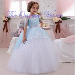 Wholesale Babies Beauty Pageants - Baby Beauty Pageant Dresses Lace Ball Gown Flower Girls Dresses Blue White Little Kids First Communion Dress Vestido De Comunion