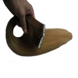 Extensões do cabelo da trama da pele da cor do ombre on-line-Cor T1B / 22 Extensões de cabelo fita de trama da pele do cabelo reto Brasileiro 40 pcs 100g Fita Fita Adesiva em extensões de cabelo humano
