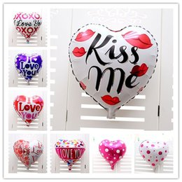 Wholesale Love Toy Heart - 50pcs lot 18inch Kiss Me I LOVE YOU Balloon Valentine day Wedding Decorations party supplies Heart shape love foil balloons