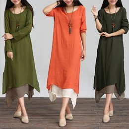 Wholesale Casual Linen Maxi Dresses - Wholesale-Fashion Autumn 2016 Women Dress Cotton Linen O Neck Long Sleeve Casual Loose Boho Long Maxi Dresses Vestidos Plus Size S-5XL