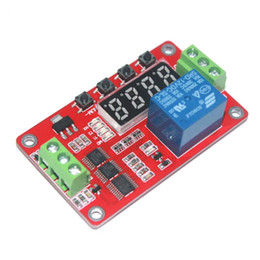 Wholesale Timer Relay Lock - Free shipping 5pcs 12V Multifunction Self-lock Relay Cycle Timer Module PLC Home Automation Delay Integrated Circuits