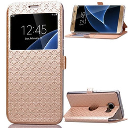 Wholesale Galaxy S Cover View - For Samsung Galaxy S7   S7 Edge Note 7 Bling Glitter Window View Wallet Credit Card Flip Cases For Samsung S 7 Stand Covers