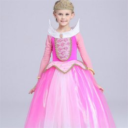 Wholesale Girls Pageant Costumes - Girls Wedding Dresses Evening Wear Kids Sleeping Beauty Princess Dress Frozen Costume Cosplay Girl Long Sleeve Gauze Party Pageant dresses