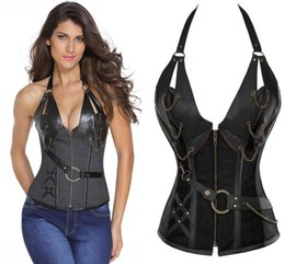 Wholesale Black Brocade Corset - Vintage Bustiers & Corsets Corselet Women Brown Brocade Steampunk Corset Top With G-string LC5313 plus XXXXL sexy lingerie set