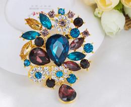 royal china jewelry Rabatt 2016 heißer Verkauf Mode Frauen Broschen Pins Königsblau Große Broschen für Frauen Saphir Schmuck Vestido De Noiva Bijoux Großhandel Schmuck
