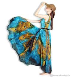 Wholesale Boho Dress Large - Fashion 2016 Summer New Long Section Chiffon Sleeveless Large Swing Peacock Print Maxi Dress Bohemian Boho Beach Dress Vestidos Plus Size