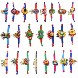 Wholesale Feature Art - New National styles Jewelry cloth art bracelet Ms flowers hand-woven Weaving restoring ancient ways original features Charm Bracelets 3029