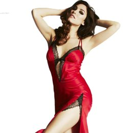 Wholesale- High Quality Deep-V Sexy lingerie sleepshirts Lace Nightgowns  long Sexy Sleepwear For Women With G-string S M L XL 34 b6b857d50