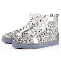 Wholesale Strass Crystal Shoes - [Original Box]France Luxury Red Bottom Sneaker Party Birthday Shoes Veau Velours louflat Women Strass Men's Flat Scintillating Crystals