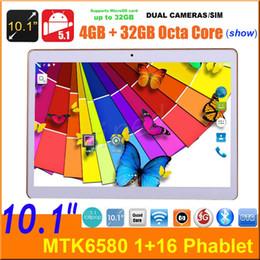 "Telefones octa core china on-line-10 10.1 ""MTK6580 Quad core 3G Android 5.1 Tablet PC Do Telefone 16 GB BT GPS 1280 * 800 Phablet Dual SIM câmera desbloqueado show MTK8752 Octa core 32 GB"