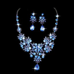 Wholesale Light Blue Crystal Wedding Jewelry - 2016 New Fashionable Jewelry Beautiful Butterfly Big Water Drop Wedding Jewelry Set Shiny Crystal Marriage Necklace Earring Suit
