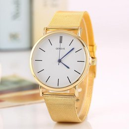 Wholesale Tab Batteries - 200pcs Free shipping Foreign trade sales speed sell hot style alloy Geneva watch ladies fashion color Circular mesh belt tab quartz watch