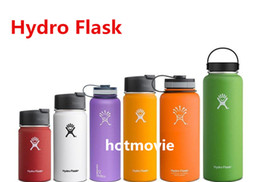 Wholesale Double Wall Bottle - 8 colors 18 oz Hydro Flasks Bottle Wide Mouth Flat Cap Travel Mug Double wall Vacuum Insulated Stainless Steel Water Bottle
