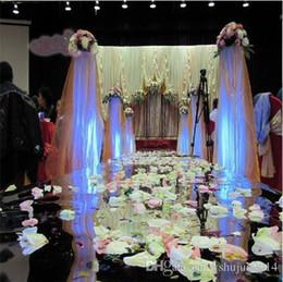 Wholesale Cake Server Plastic - DHL Delivery 20m Per lot 1m Wide Fashion Silver Plastic Mirror Carpet Aisle Runners For Wedding Backdrop Centerpieces Decoration Supplies