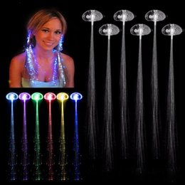 Wholesale Led Christmas Lights C7 - Colorful Braid Flash Braid Luminous LED Hearwear Hairpin Headdress Masquerade Festival Props Light Fiber Optic Hair Pigtail Christmas Gift