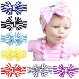Wholesale Striped Headbands - Europe Baby Girls Cotton Bow Headbands Infant Kids Elastic Stripe Turban Knot bowknot Hairbands Children Headdress Hair Accessories KHA215