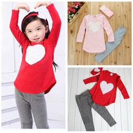 Wholesale Kids Cotton Headbands - Girls Love Heart 3PCS Set Headband + Pants + Tshirt Kids Girls Clothes Sets Baby Girl Long Sleeve Shirt Dress Girls Autumn Dress Suit hot