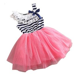 Wholesale Tulle Bow Stripe - 2016 Summer Baby Girl Dress Stripe Bow Party Tutu Princess Dress Puffy Tulle Vestido Infantil Lace Kids Dresses For Girls Clothes
