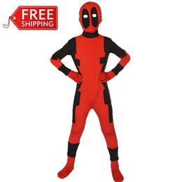 Wholesale Children S Fancy Dress - Wholesale Children Deadpool Zentai Suit Superhero Costume Cosplay Fancy Dress Kid Bodysuit