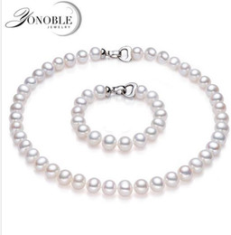 Wholesale Pearl Necklaces For Bridesmaids - Wedding pearl jewelry set for bridesmaids genuine natural jewelry sets 925 silver freshwater pearl necklace white top quality