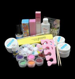 Wholesale French Tip Glitter - Wholesale- BTT-80Full Acrylic Glitter Powder Glue File French Nail Art UV Gel Tips Kit Set ,NAIL art uv gel kit ,36W curing uv lamp kit .