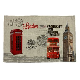 Wholesale Patterned Table Cloth - Wholesale- London style pattern print insulation pad Table mat Placemat Bowl mat Waterproof cloth pads Anti slip mat