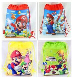 Wholesale Mario Party Bags - 96pcs lot Super Mario backpack Children Cartoon Drawstring school bags for boys Mixed 4 Designs,Kids Birthday Party Favor