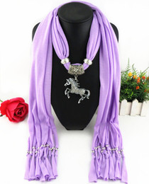 Wholesale Cheap Women Scarfs - Latest Cheap Fashion Ladies Scarf Direct Factory Clear Rhinestones Horse Pendant Scarves Jewelry Winter Scarf Women Tassel Shawl