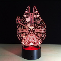 Wholesale Star Wars Pvc Toy - Star Wars Millennium Falcon 3D Stereoscopic Visual Light Acrylic Lamp LED Lamp Atmosphere Colorful Gradients
