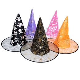 Wholesale Point Gauze - 39*35Cm Halloween Supplies Witch Decoration The Witches Props Double Layers Gauze Tall Hat Pointed Shape Halloween Hats Mixed Color