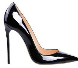 Wholesale Orange Heels For Women - Women Black Sheepskin Nude Patent Leather Poined Toe Women Pumps,80 100 120mm Fashion lRed Bottom High Heels Shoes for Women Wedding shoes
